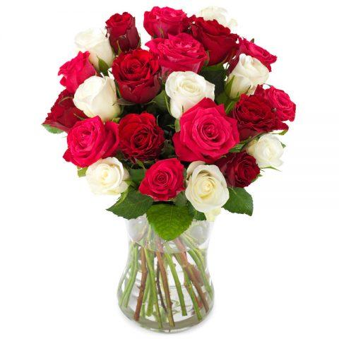 Schitterend rozen boeket groot
